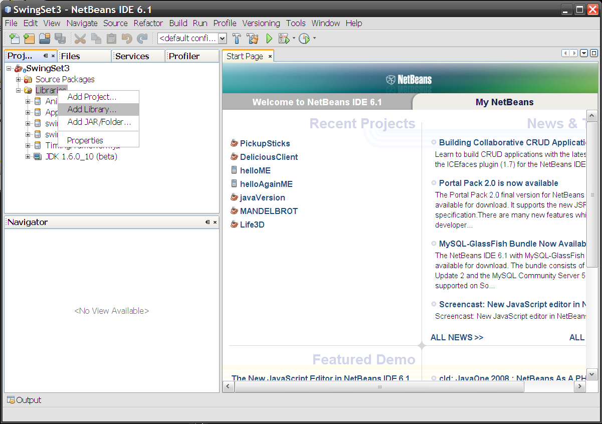 Right-click Libraries in Projects view to get a menu, choose Add Library