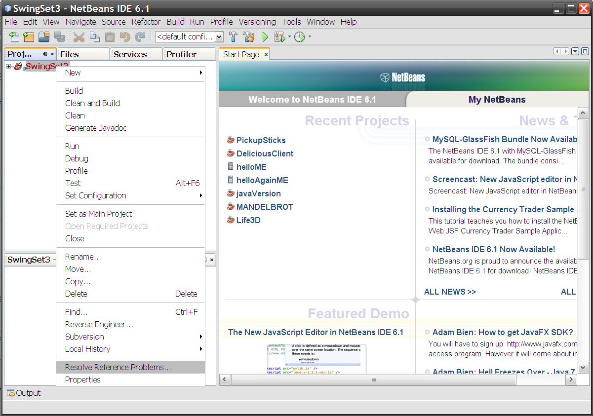 NetBeans Project menu