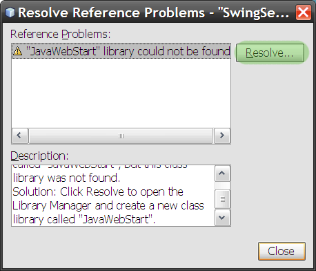 Resolve Reference Problems dialog